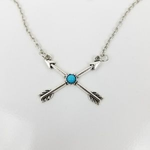 Jewelry - Boho SILVER Crossing Arrows Turquoise Necklace